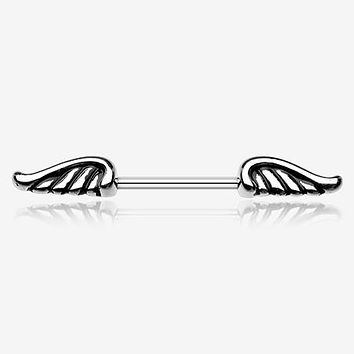 A Pair of Angel Wing Nipple Barbell Ring
