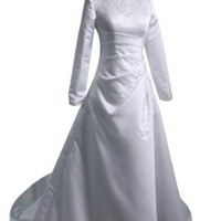Winey Bridal® Long Sleeve High Neck White Sweep Train Wedding Dresses