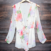 boho chic soft floral romper with slit sleeves - ivory