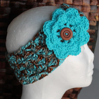 Earwarmer / Headband - Women - Teen - Turquoise and Brown