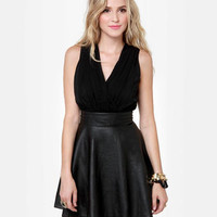 Cute Black Dress - Vegan Leather Dress - $43.00