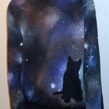 Hand painted Multicolored Cat Galaxy Nebula Cosmos Sweater - size M-XXL Unisex