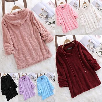 Fluffy Polar Fleece Drawstring Women Candy Color Pajama Home-wear Hoodie