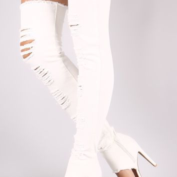 Qupid Distressed Denim Open Toe Over-The-Knee Boots