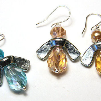 INDUSTRIAL Wing-Nut BEES. Eco Friendly Jewelry, Aqua Blue Angels or Golden Yellow Honey Bee Earrings, Fun Earnings for Busy Bee, tagt