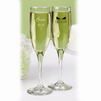 Bride & Groom Flutes with Bow Tie - Etching Personalized Perfect Wedding Gift