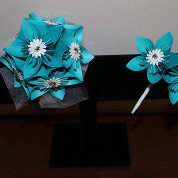 Teal and White Corsage & Boutonniere - Alternative Wedding Flowers - Prom Corsage and Boutonniere