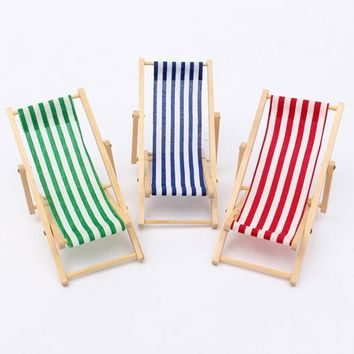 Dolls House Miniature Fold able Wooden Craft Deckchair for Baby