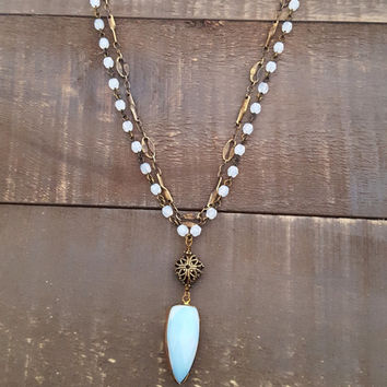 Opalite Antique Bronze Pendant Necklace, Bronze Filigree Light Blue Opal Double Strand Rosary Style Vintage Chain Necklace, Rustic Jewelry
