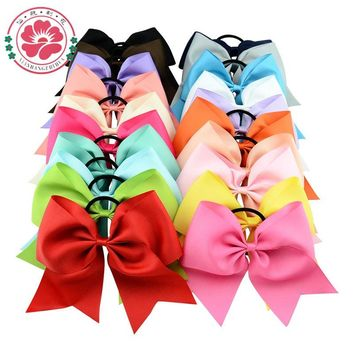 20pcs/lot 8 Inch Large Cheer Bow With Elastic Hair Band Cheerleading Boutique