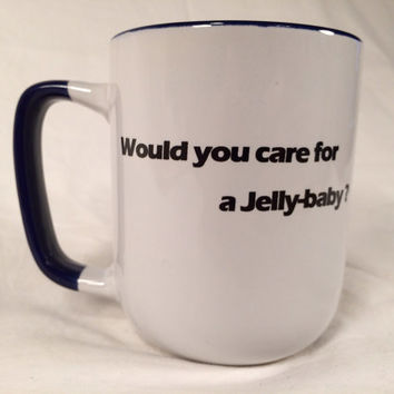 TARDIS doctor who quote mug Dr who Tom Baker Would you care for a jelly baby