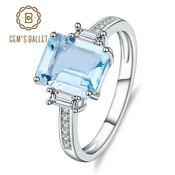 Gem's Ballet Classic Natural Sky Blue Topaz Ring Cut Solid 925 Sterling Silver Ring Set Best Brand Fine Jewelry For Women