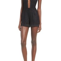 J.O.A. Plunging Embroidered Lace Romper | Nordstrom