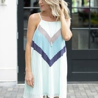 Cute Pleated Trapeze Dress - Color Block Tank Dress - $75.00 | Hand In Pocket Boutique