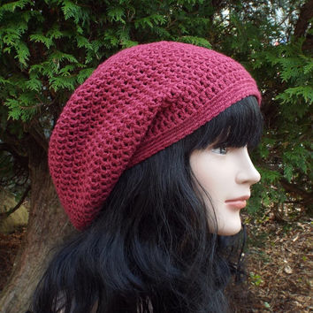 Cranberry Red Slouch Beanie - Womens Slouchy Crochet Hat - Ladies Oversized Cap - Hipster Hat - Bamboo Blend Baggy Beanie