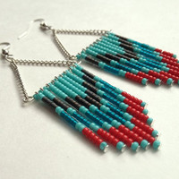 Red Teal and Turquoise Beaded Earrings by OliveTreeHandmade