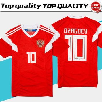 2018 world cup Russia Soccer Jerseys 2018 world cup Russian Home red Football uniform #10 DZAGOEV #11 SMOLOV Soccer Shirts