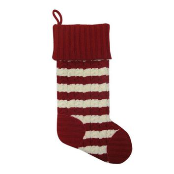 St. Nicholas Square 21-inch Two-Tone Cable Knit Christmas Stocking (White/Red)