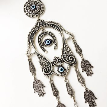 Hamsa wall hanging, hamsa wall art, evil eye wall hanging, evil eye bead, horseshoe