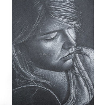 Original white charcoal portrait drawing on dark gray paper, OOAK drawing of a girl playing guitar. Original artwork, NOT a print