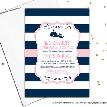 Whale baby shower invitations for girls, navy and pink baby shower invite nautical navy stripes unique, printable or printed - WLP00797