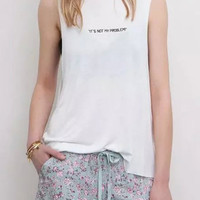 White Printed Sleeveless Tee