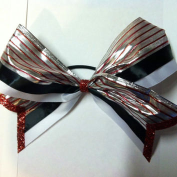 Red white silver and black 3 inch cheerleader cheer by 2girls2Tus