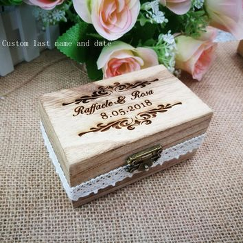 Rustic Engrave Wood Ring Bearer Box