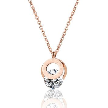 Roman Numeral Double Circle With Shiny Crystal Pendant Necklace High Quality Stainless Steel Love Ketting Jewelry For Women Gift