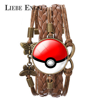 LIEBE ENGEL 8 Color New Fashion Glass Cabochon Pokemon Jewelry Pikachu Pokeball Leather Charm Bracelet for Women Party Jewelry
