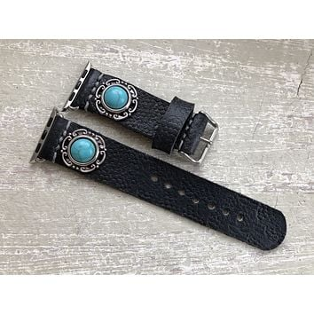 Black Leather Apple Watch Band 38mm 40mm Turquoise
