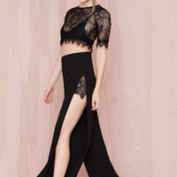 Sheer Eyelash Lace Top with Side Split Palazzo Pants
