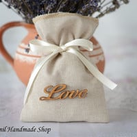 Rustic Wedding Favor Bag, Thank you Bag, Burlap Gift Bag, Candy Bags with Love Tag - SET OF 25