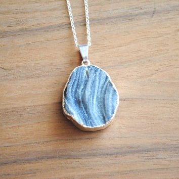 "Raw Druzy Necklace, Silver Plated on 18"" Delicate Sterling Silver Chain, Layering Necklace"