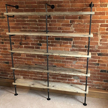 5 Shelf Bookcase  iron pipe shelve pipe shelves industrial pipe shelve TV Stand Storage Unit Supply Area Wooden Bookcase Free Shipping