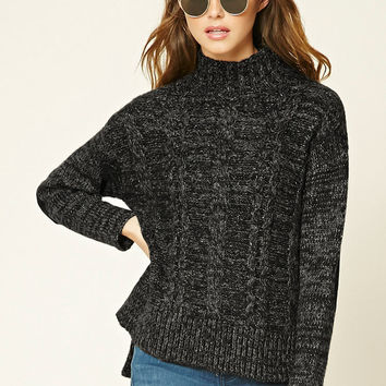 Marled Knit Mock Neck Sweater