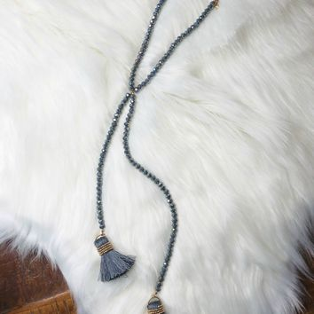 Separately Together Tassel Necklace: Grey