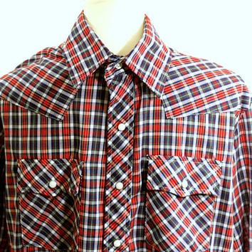 "Men's Red and Blue Plaid Check Western Shirt | Mens Cowboy Shirt Long Sleeve Pearl Snap Buttons ""Dakota"" XL 