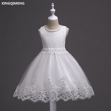 In Stock White Tulle Lace Flower Girl Dresses 3-12Y Short First Holy Communion Dresses for Girls Pageant Gowns vestido daminha