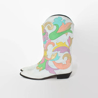 Vintage 80s ZALO BOOTS / 1980s Pastel Metallic Gold Applique Leather Western Boots 9