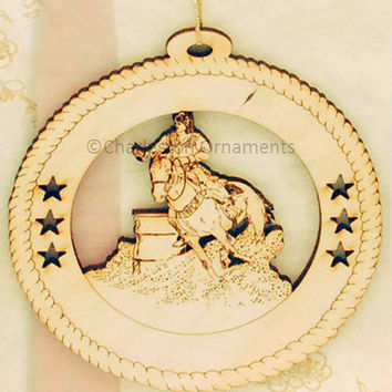 Custom Wooden Female Barrel Racing Ornament Engraved PERSONALIZED FREE Female Barrel Racing Gift, Female Horse Ornament, Equestrian ornament