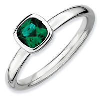 Cushion Cut Created Emerald Stackable Ring