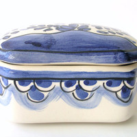 Blue & White Vintage Porcelain Box - Coimbra - Hand Painted