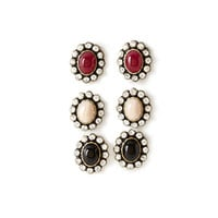 FOREVER 21 Faux Stone & Rhinestone Earring Set Black/Burgundy One