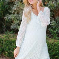 Mint Green Diamond Crochet Neckline Maternity Tunic