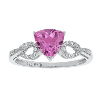 1.3 Ct Trillion Pink Sapphire Diamond 925 Sterling Silver Ring (.07cttw, I-J)