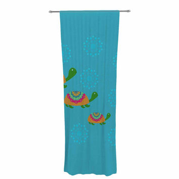 "Cristina bianco Design ""The Turtles"" Teal Orange Decorative Sheer Curtain"