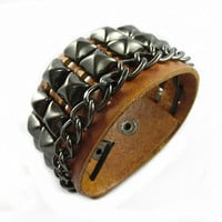 Punk Rock Leather Bracelet Couple Bracelet Women Bracelet Men Leather Bracelet Bracelet Cool Bracelet Mens Bracelet 2568S