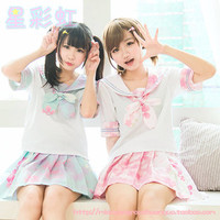 new ! harajuku style sakura cherry printing sailor uniform set | lolita |blue and pink| short version