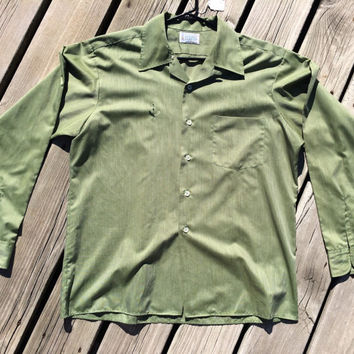 Vintage 1950's Penney's Penn-Prest Green Button Down Men's /Mad Men/ Dress Shirt
